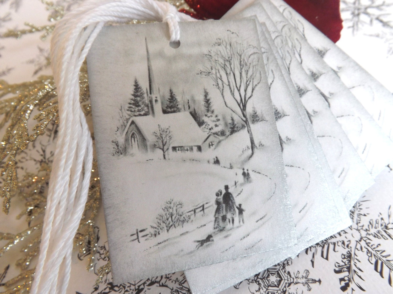 White and Silver Snowy Church Scene Christmas Gift Tags // Vintage Christmas Image // Set of 6