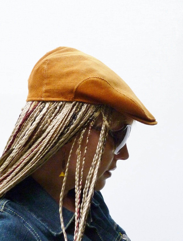 Womens Hat - Flat cap - Vintage Mustard Cord