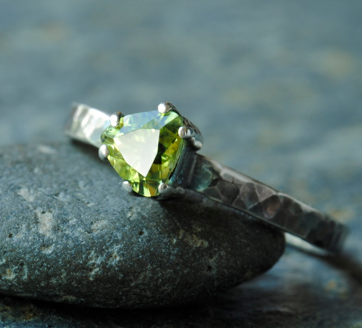 Peridot Trillian Ring, Triangle Cut Peridot Sterling Silver Ring - DalkullanJewelry