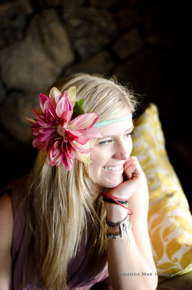 Konnie- Bright Spring hair flower, Buttons n' Blossoms Gerbera Daisy, Large summer blossom in pink, teal headband - ButtonsnBlossoms