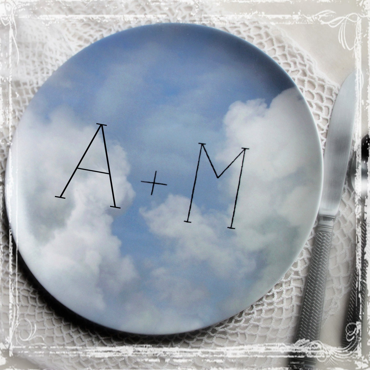 Match Made In Heaven Plate - Weddings Anniversary, First Married Christmas Gift, Personalized, Sky Clouds, Reception, Photo Prop Newlywed