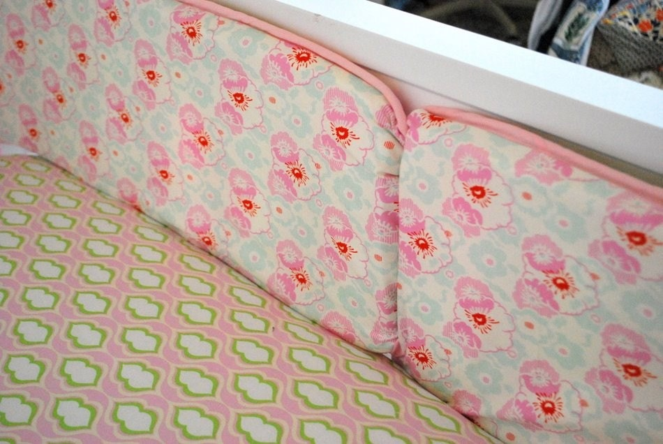 10% OFF SALE-Kissing Booth, Nicey Jane 3 Piece Custom Crib Bedding
