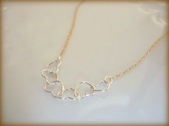 sentiment - silver hearts in sterling - 14k gold filled chain - dainty every jewelry