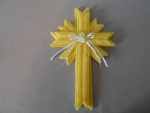 Easter Cross Wall Hanging / Plastic Canvas Cross - hetrickscrafts