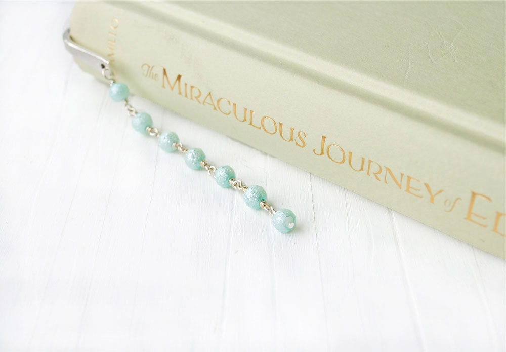 Blue Beaded Bookmark Beaded Bookmark Tiffany Blue Metal Bookmark Aqua Silver bookmarksNbangles - bookmarksNbangles