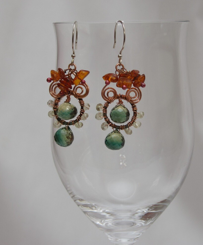 Whimsical Gemstone Earrings with Copper and Sterling Silver - Cedars and Ferns Ooak