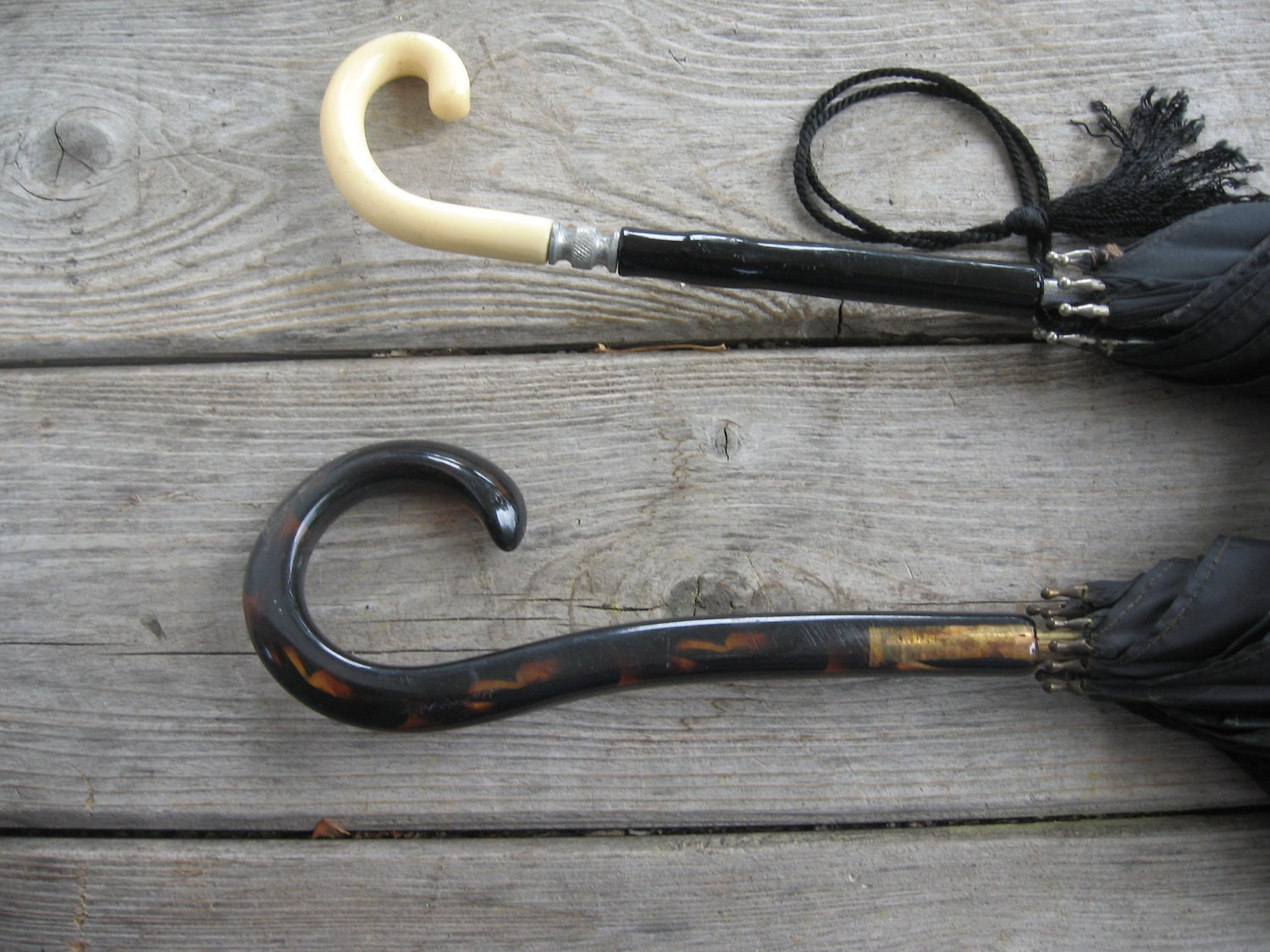 Pair of Vintage Black Umbrellas Bakelite Handles