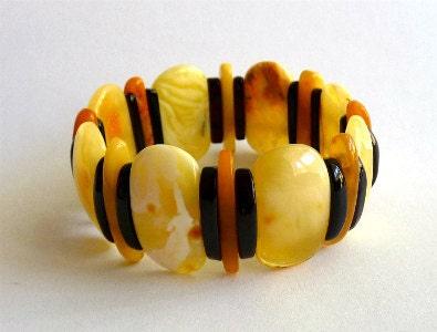 """Baltic Amber Butterscotch Bracelet Beaded 7.5"""""""