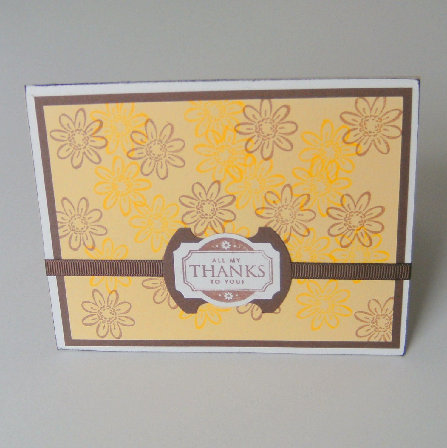 Handmade Thank You Card Yellow Brown Flowers - CreativeDesigns