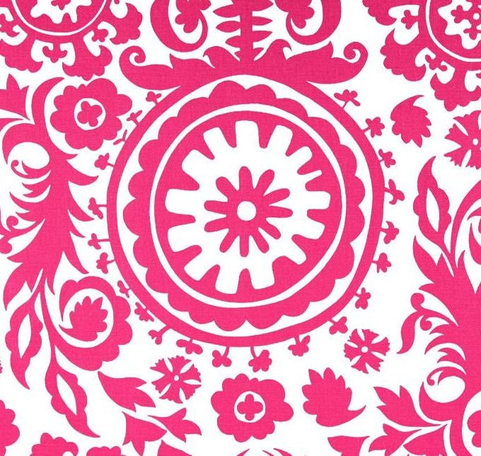 Damask Table Runner Fuchsia Hot Pink and White Runner Damask Wedding Linen