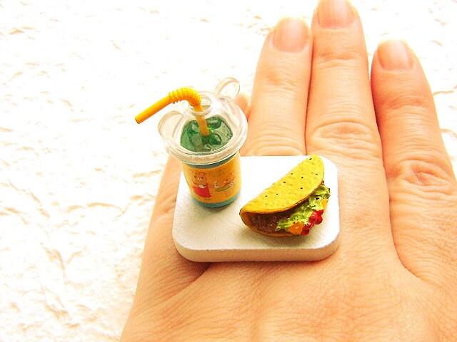 Продовольственная кольцо Kawaii Сода Taco