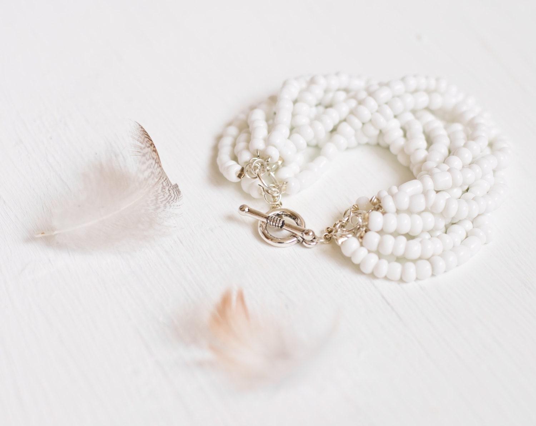 White chunky bracelet - bead bracelet - white bracelet - white jewelry - chunky bracelet - white, beads, silver