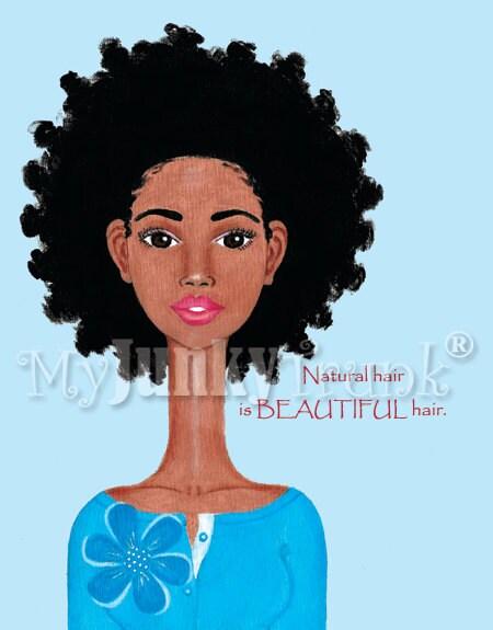 Beautiful--African American Natural Hair  Afro Print