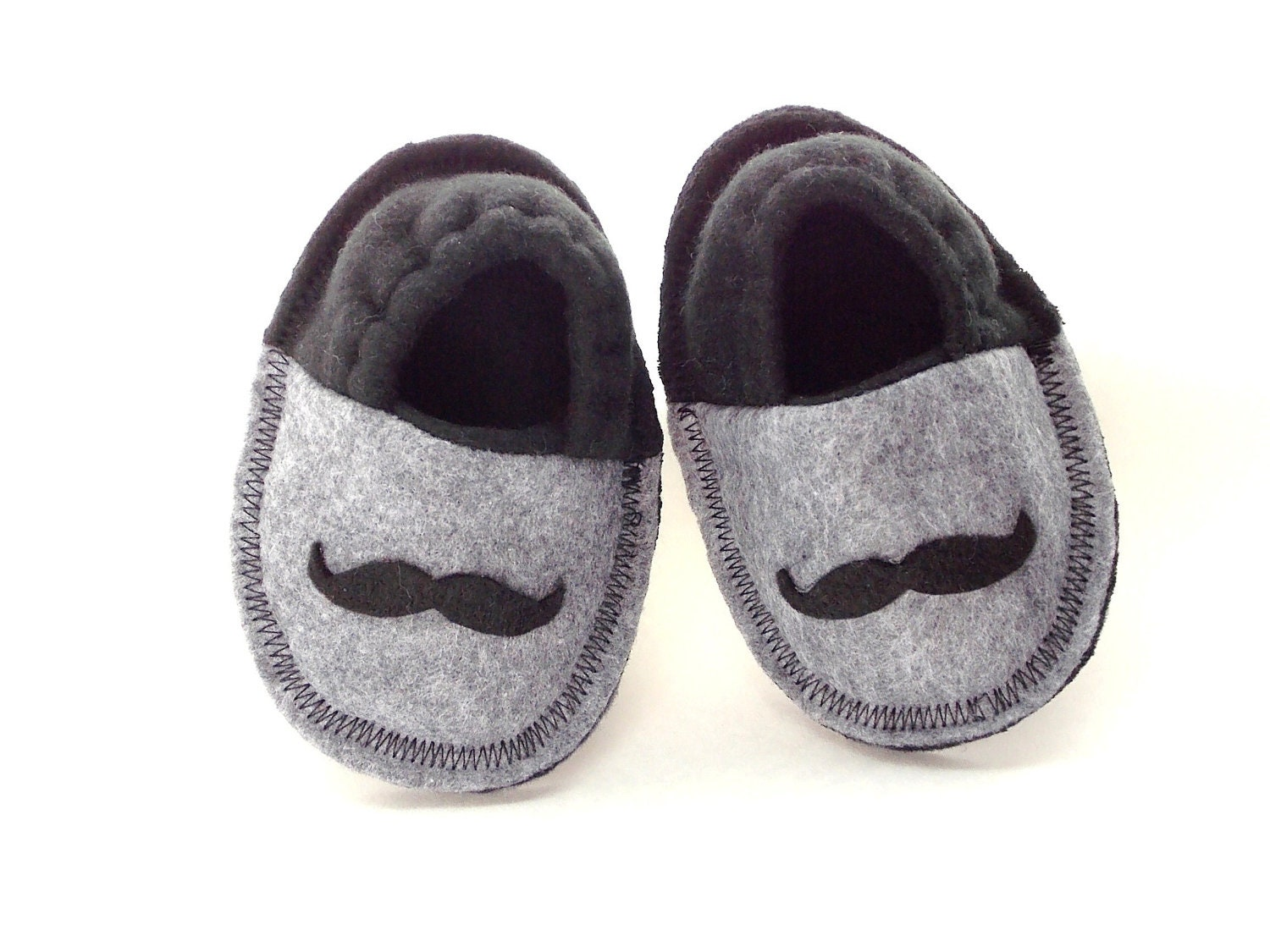 Infant Crib Shoes Baby Mustache Slippers Baby Shoes Fleece Booties Soft Felt Soles Gray Black 0-3 3-6 Months - MoJosCozyToes