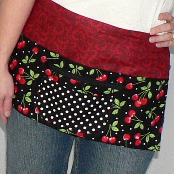 6 Pocket Zipper Apron -for vendors, teachers, gardeners, artists, servers - Black Cherries fabric