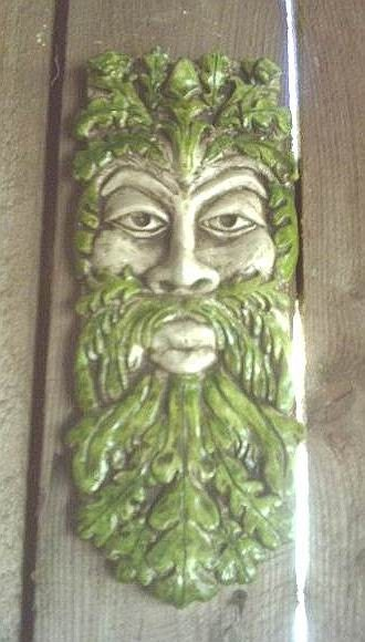 Long Greenman Gothic Wall Plaque Celtic Leafman by TheNeonGargoyle