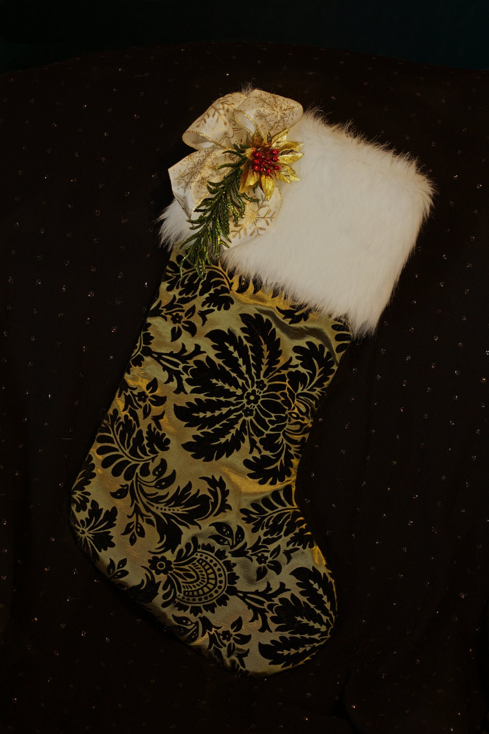 Green Silk, Velvet, and Fur Christmas Stocking