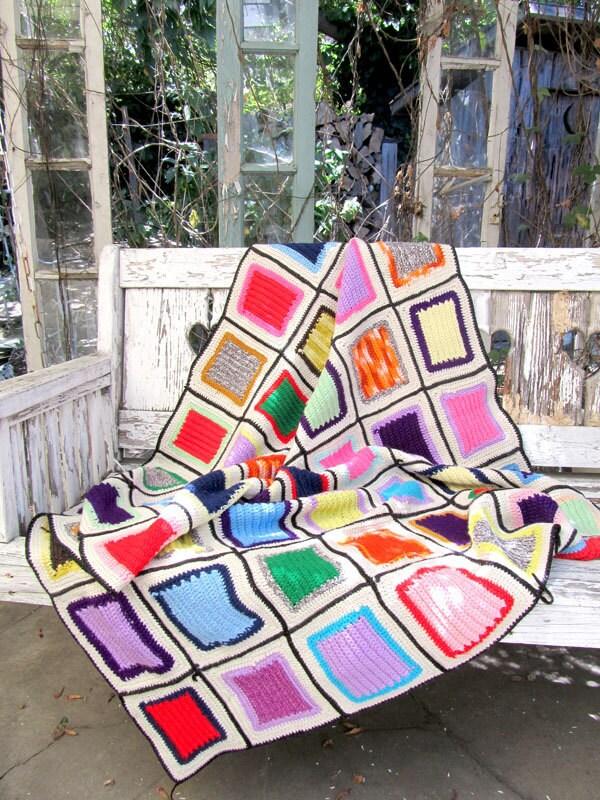 Vintage CHECKERED Granny Square Blanket RAINBOW NEON Throw Vintage Clothing by TatiTati Vintage on Etsy