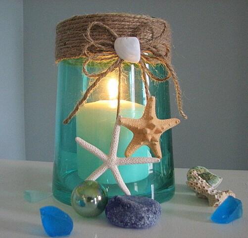 Пляж Декор ваза Shell или Свеча ураган с Starfish в зеленый, 6 дюймов