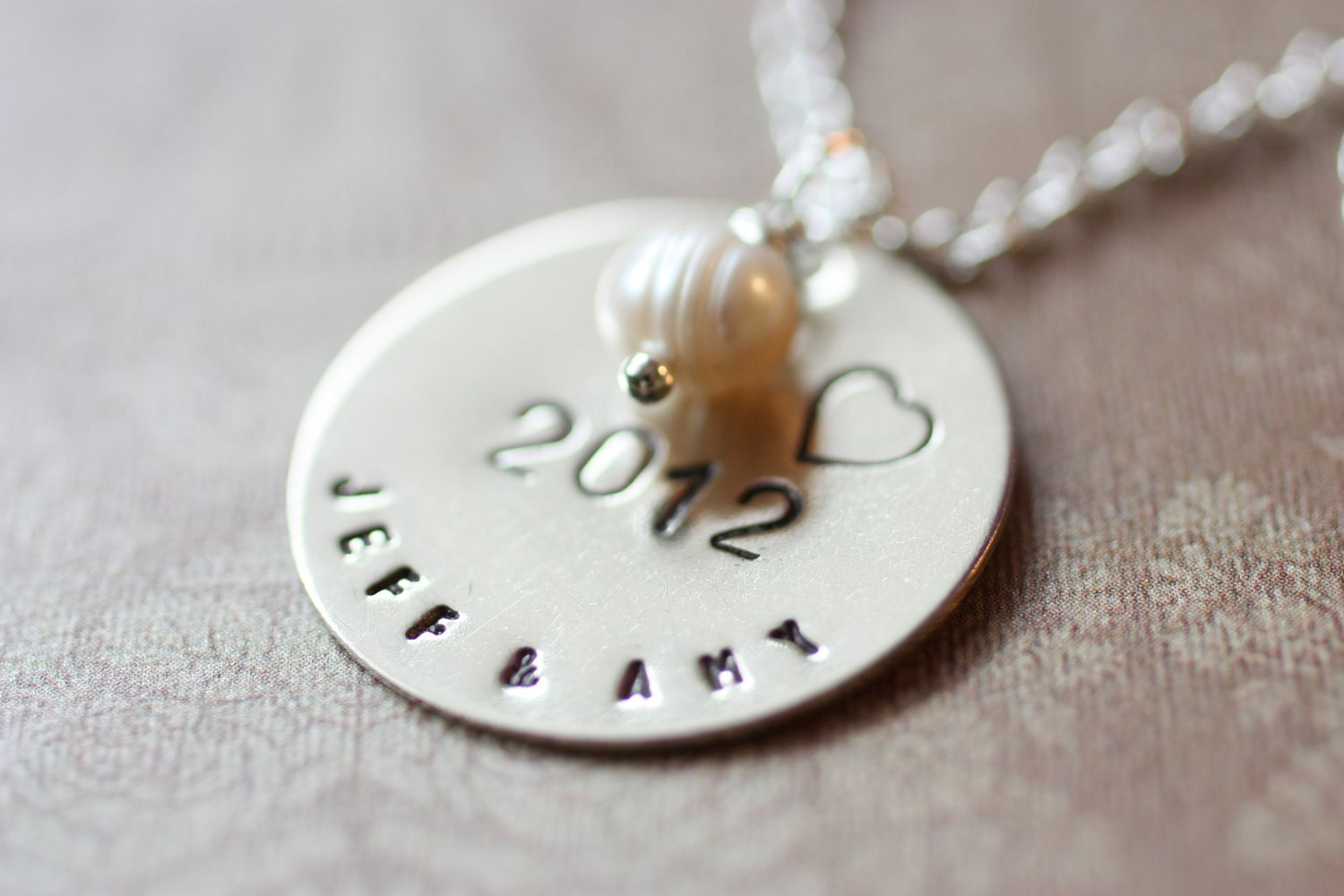 Wedding Gift Handstamped Necklace - Pearl Bride and Groom Names