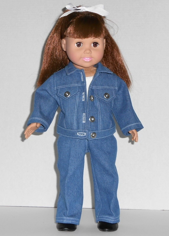 American Girl Doll Denim Jacket Jeans White Tank Top Suit