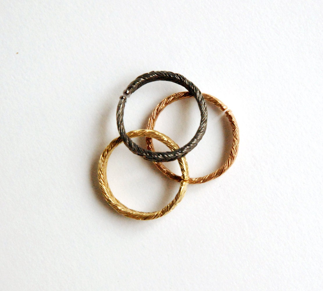 Magnitude Plait - Fishbone - set of three rings - ayakokanari
