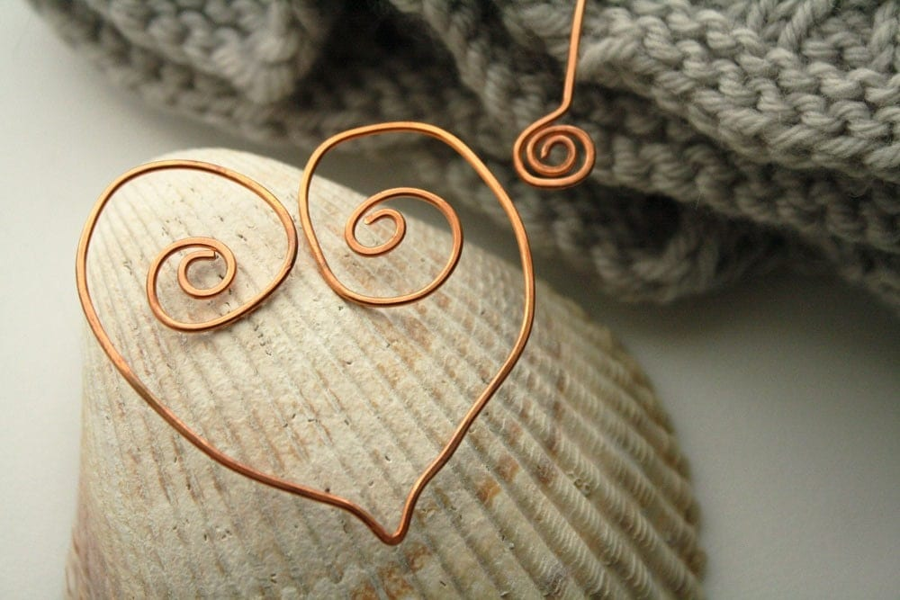 Handmade Copper Shawl Pin - Heart