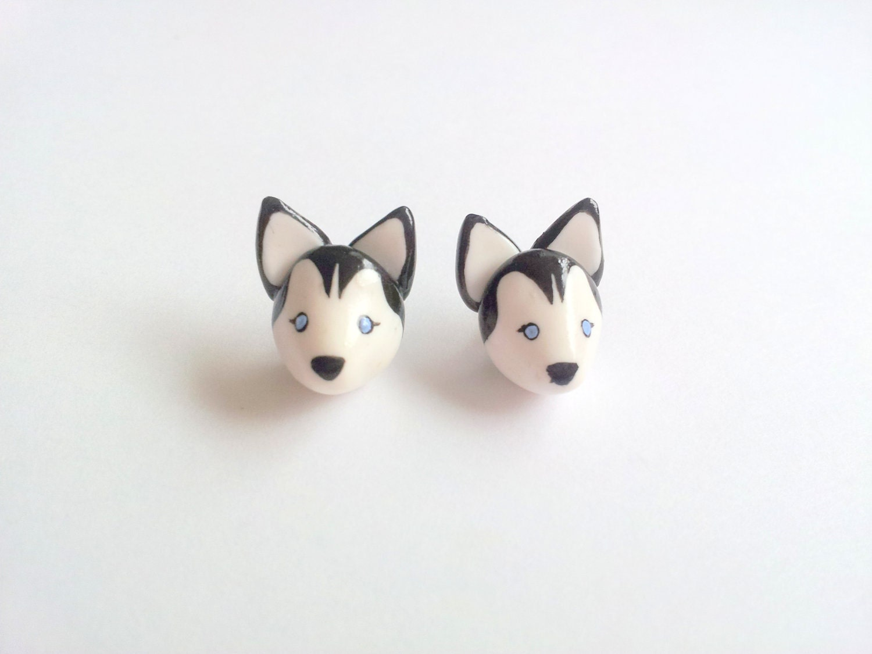 Husky dog post earrings