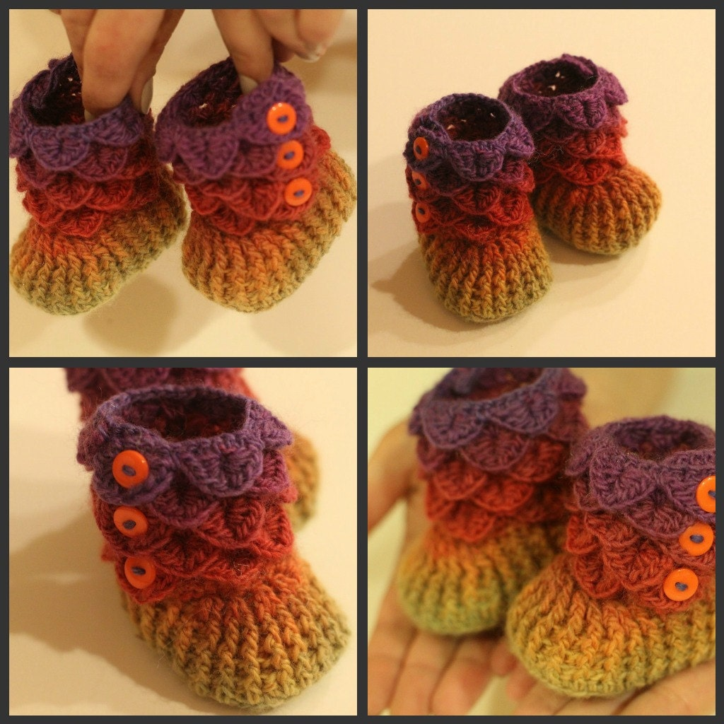 Crochet Pattern For Crocodile Stitch Baby Booties : Free Crochet Crocodile Stitch Booties Pattern