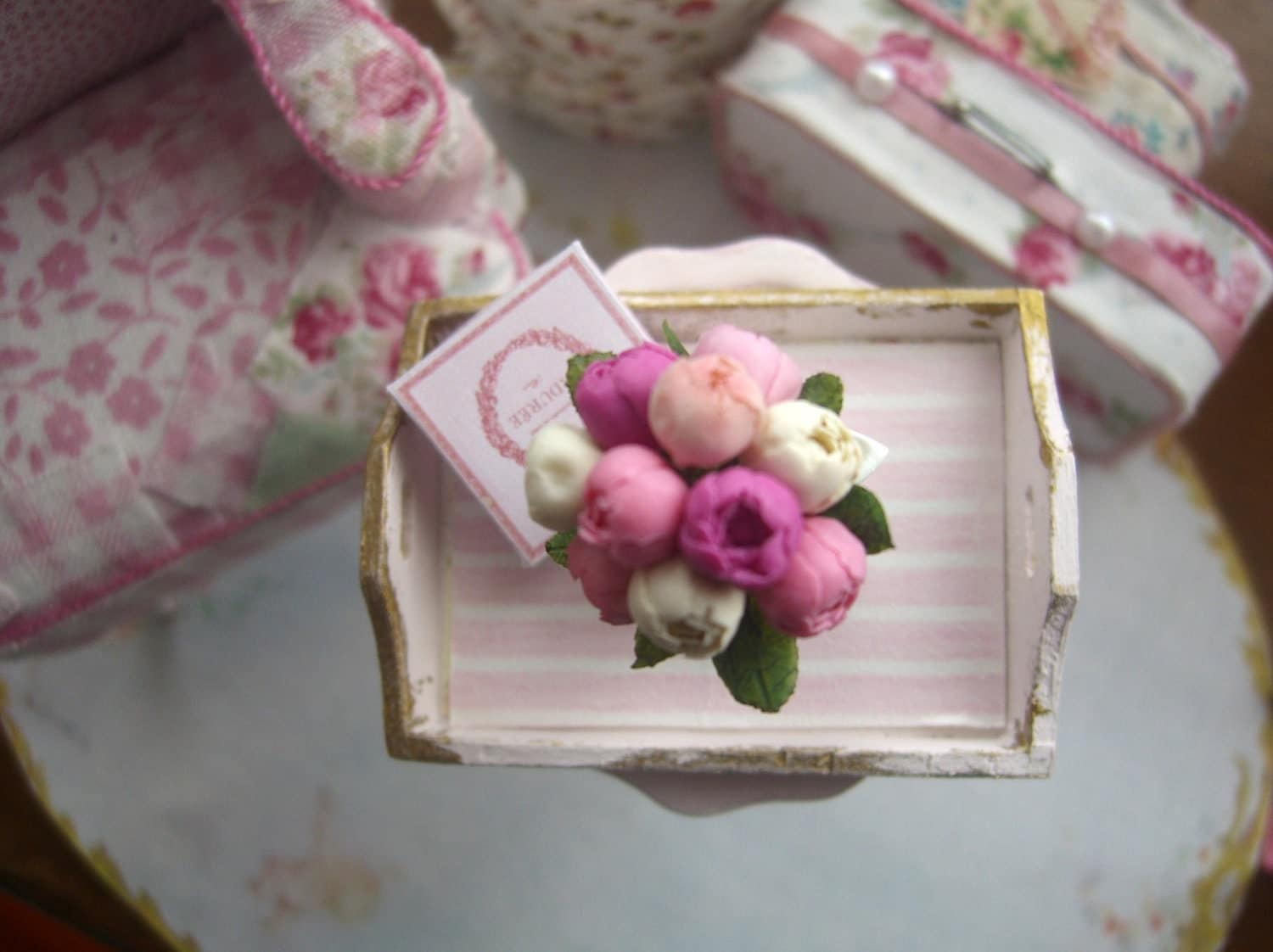 miniature pink and white stripped tray