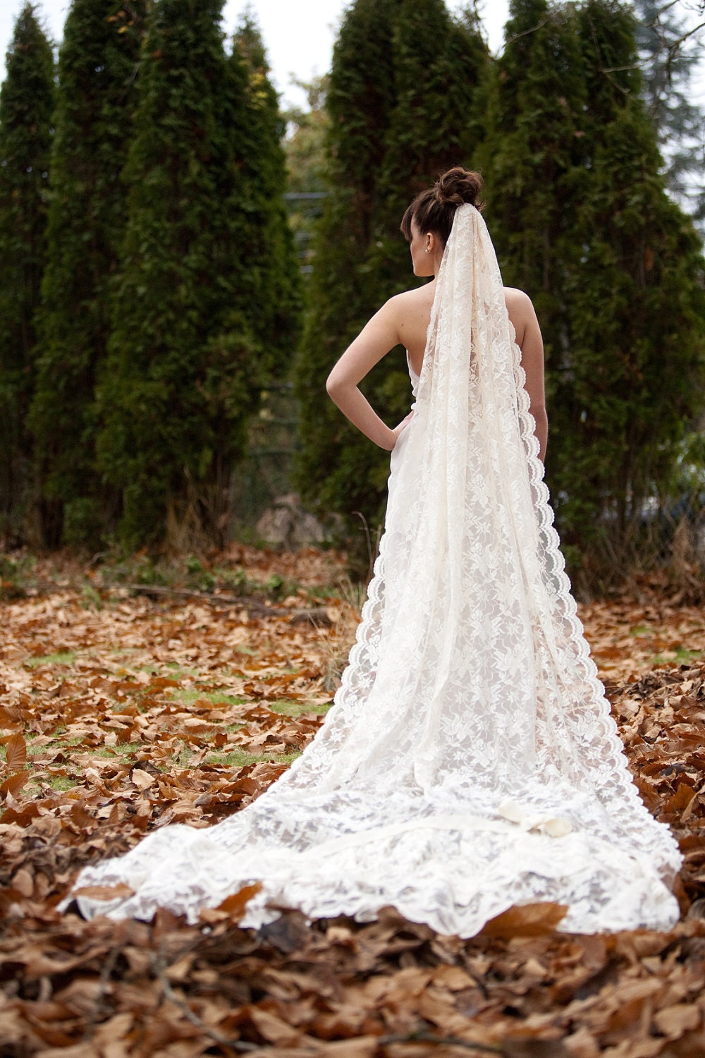 The Stella...Full leangth ivory lace veil