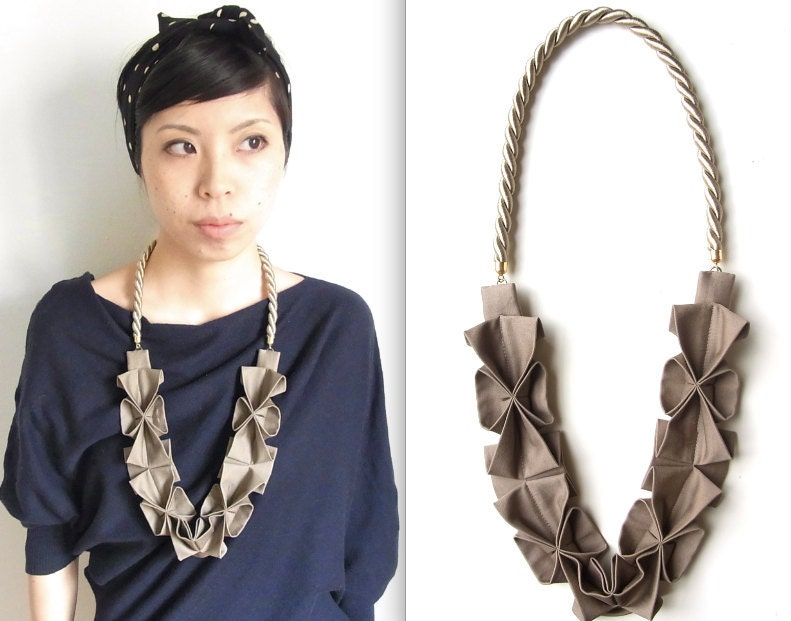 Origami Hana Rope Necklace -  Light Brown