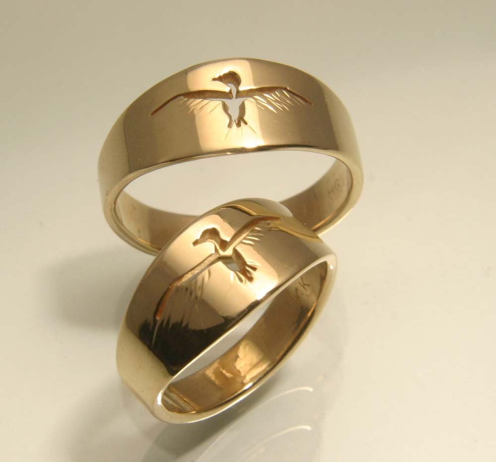 Take Flight, Bird Ring Hand Cut out in Gold, Men's wedding band - HarvestGoldJewelry