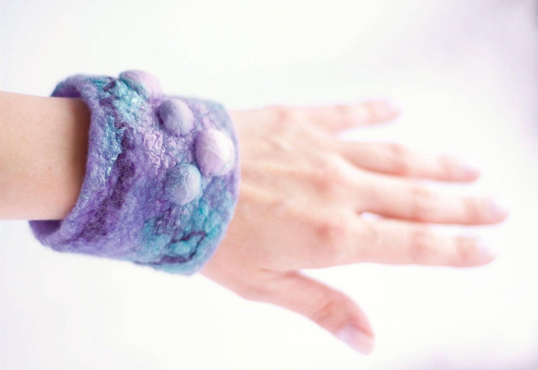 Nunofelt bracelet, vilolet, turquoise, lavender.Felt bracelet,felted bracelet,felt cuff.OOAK.Eco friendly. - CraftbyMaryla
