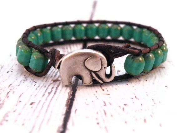 Turquoise Leather Wrap Bracelet with Table Cut Turquoise and Silver Elephant/ Free shipping/ Boho Urban Modern Chic - GloryGift