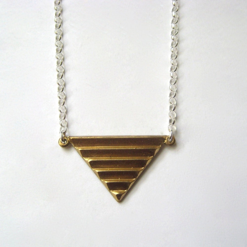 Brass Geometric Jewelry, Brass Triangle Necklace, Modern Minimal Jewelry, Mixed Metal Jewelry - juliegarland
