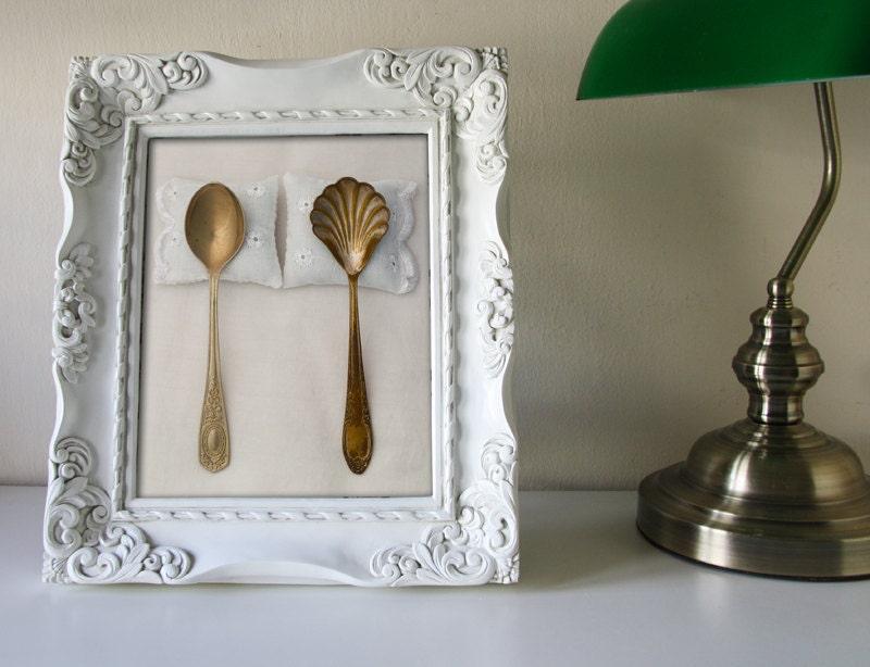 Wedding Reception Cottage Vintage Style Shabby Gold White Romantic Gift