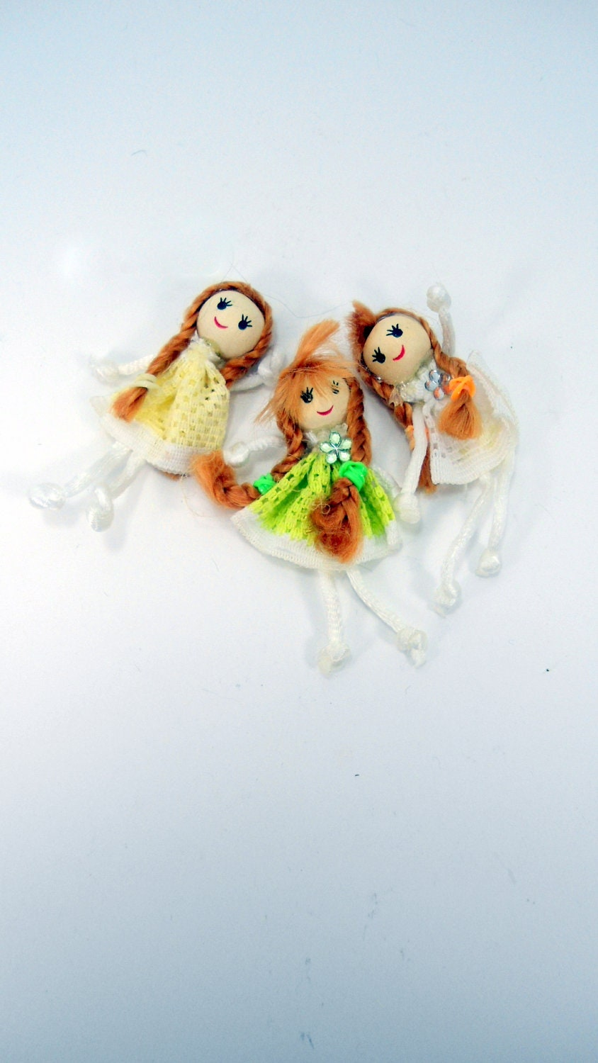 yellow,lime and white dolls, girl bead supplies,H00180 - hardbead