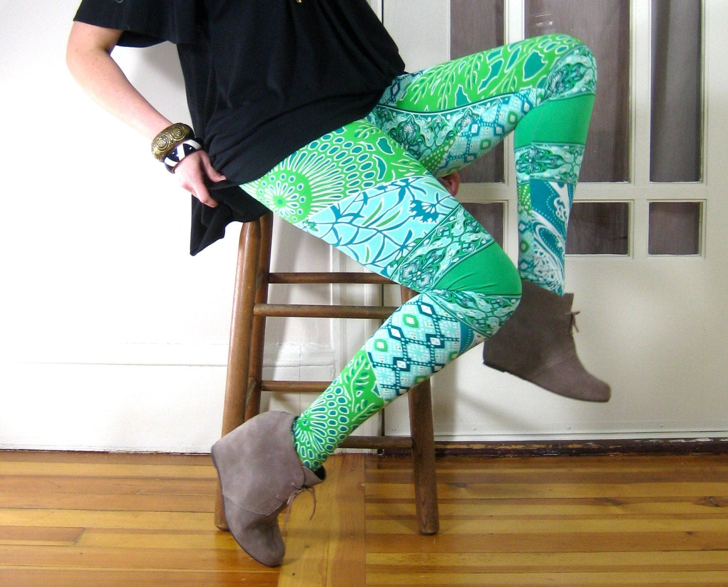 LONG LEGGINGS/ high waisted, tight and fitted, printed leggings, blue and green, leaf print, ocean print, asymmetrical, tall leggings, swirl - nicolelebreux
