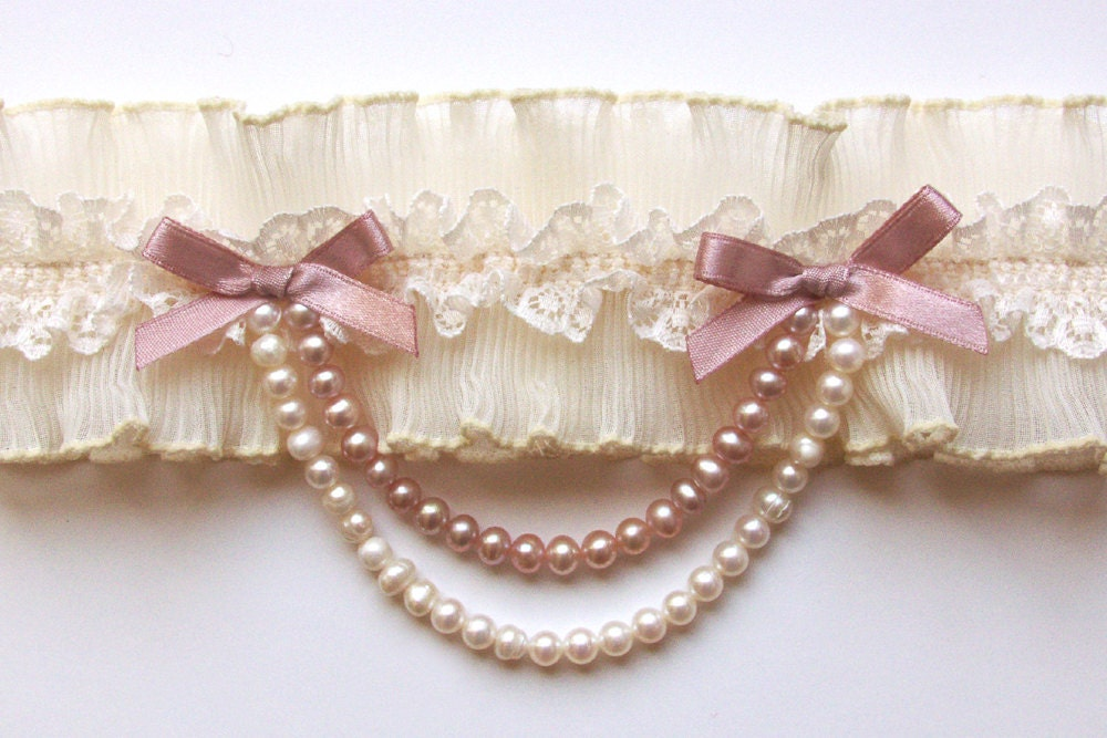 ivory pleated french lace bridal garter with pearl drape