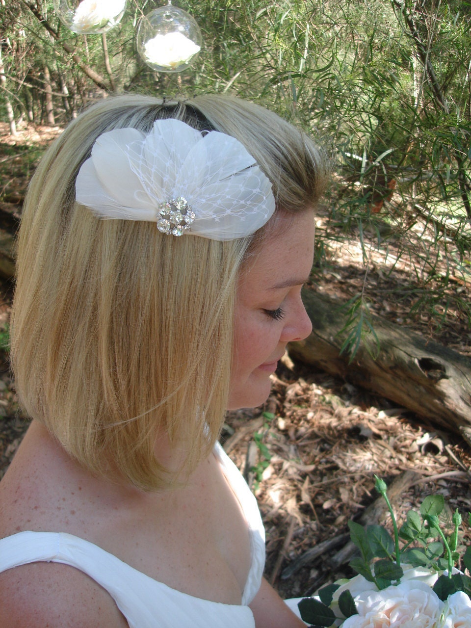 feather facinator Ivory clip with vintage inspired rhinestone jewel & ivory russian veiling