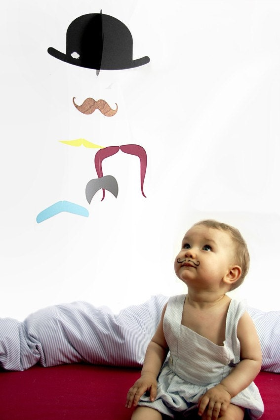 Mr. Moustache baby mobile