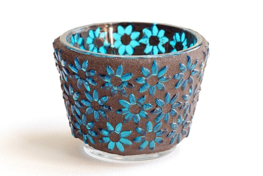 Turquoise Flowers - Mosaic Candle Holder - Trencadis