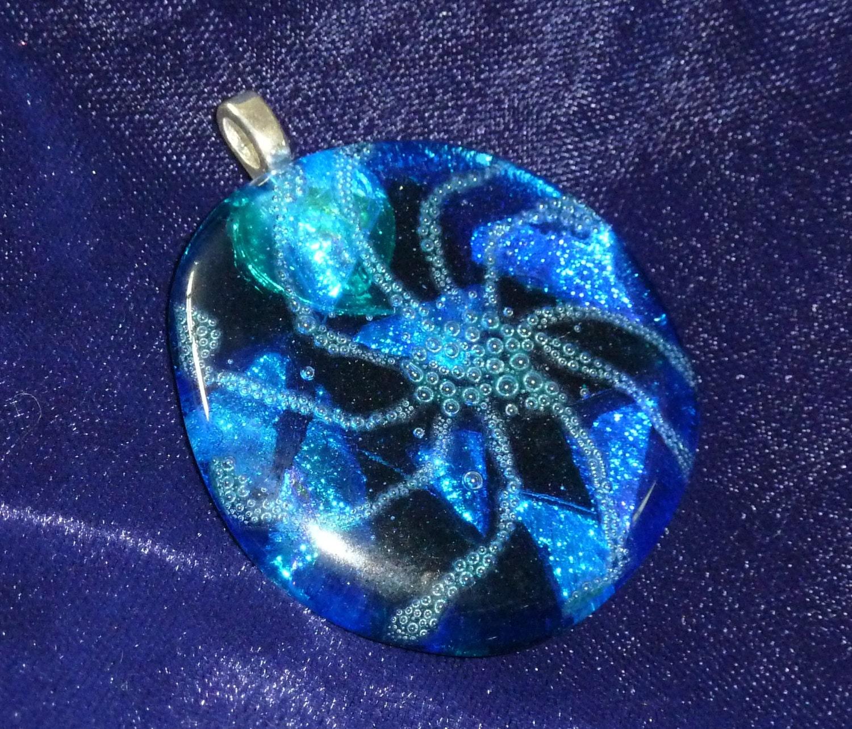 Vortex Fused Glass Dichroic Blue Pendant - ShinyandWeird