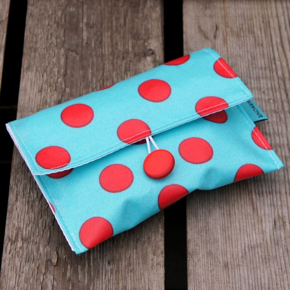 SMALL  Red Polka Dot Snack Pouch Bag