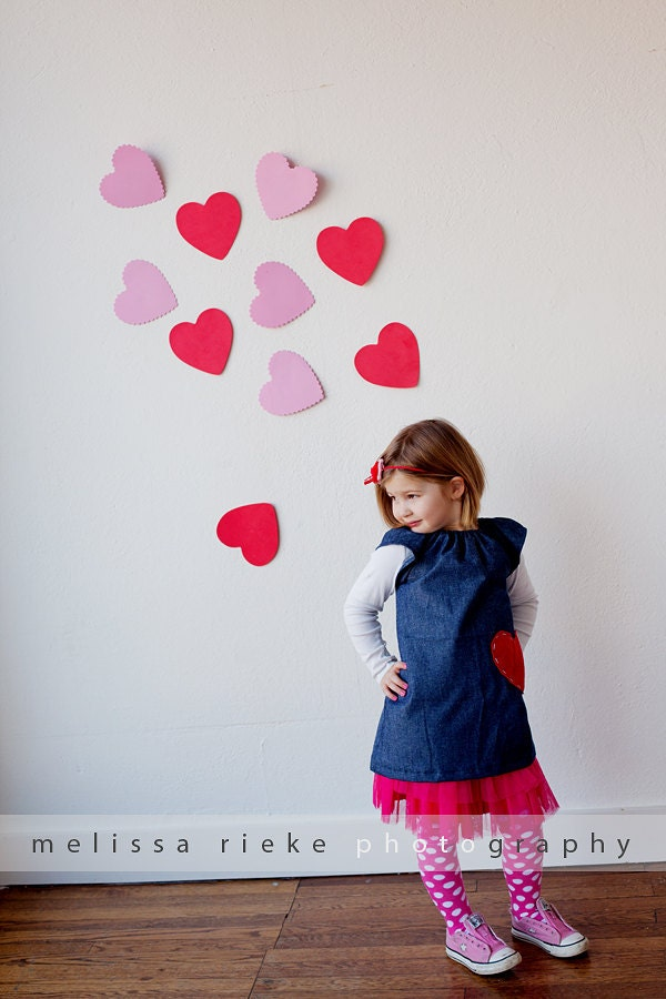 Valentines Day... Denim Peasant Dress with Appliqued Heart...handmade childrens clothing by laken and lila