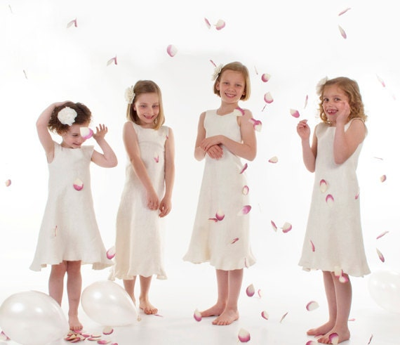 White Ivory Flower Girl Dress eco friendly