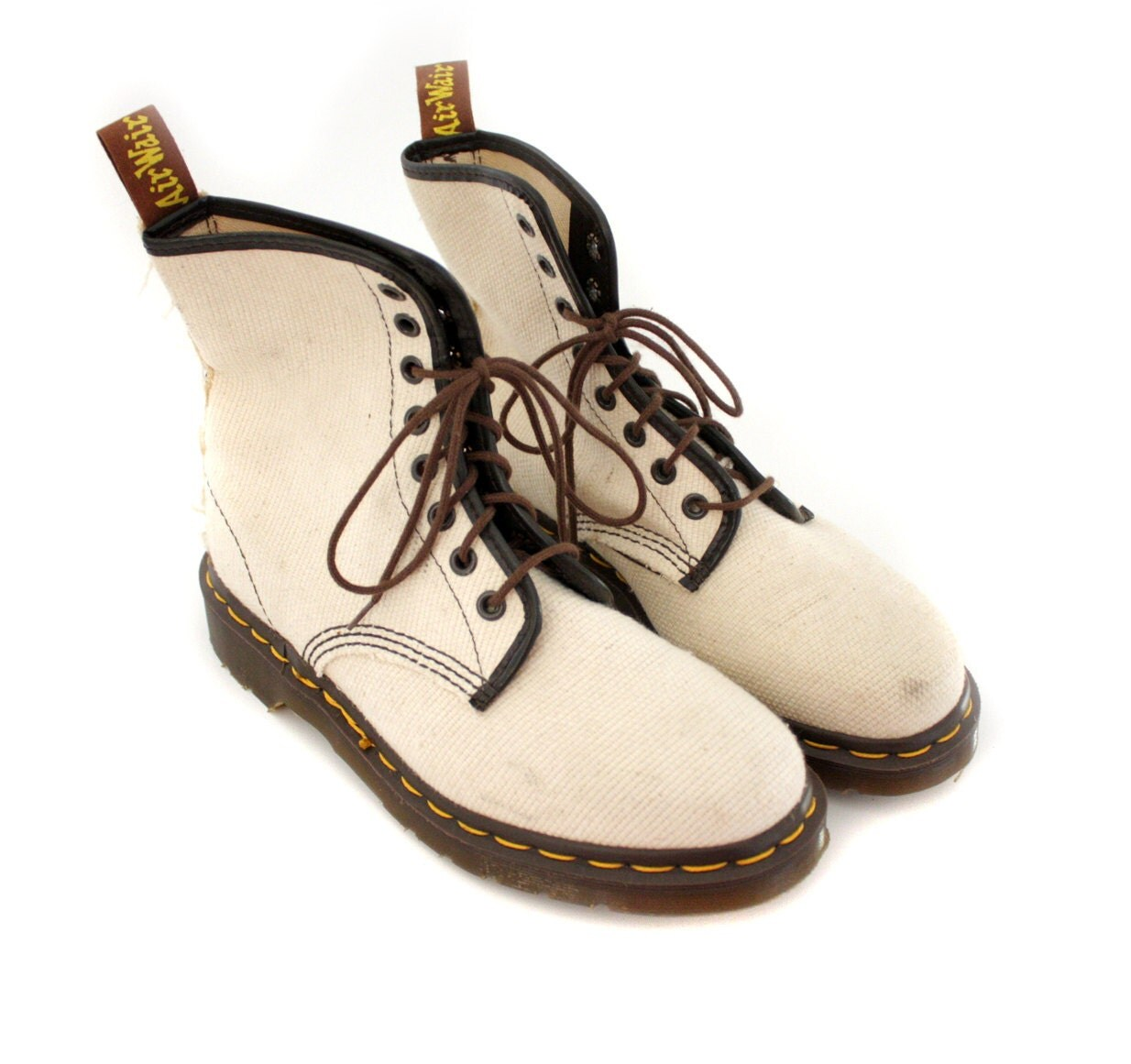 Vintage boots. vegan Doc Martens vanilla canvas. size 38/7.5