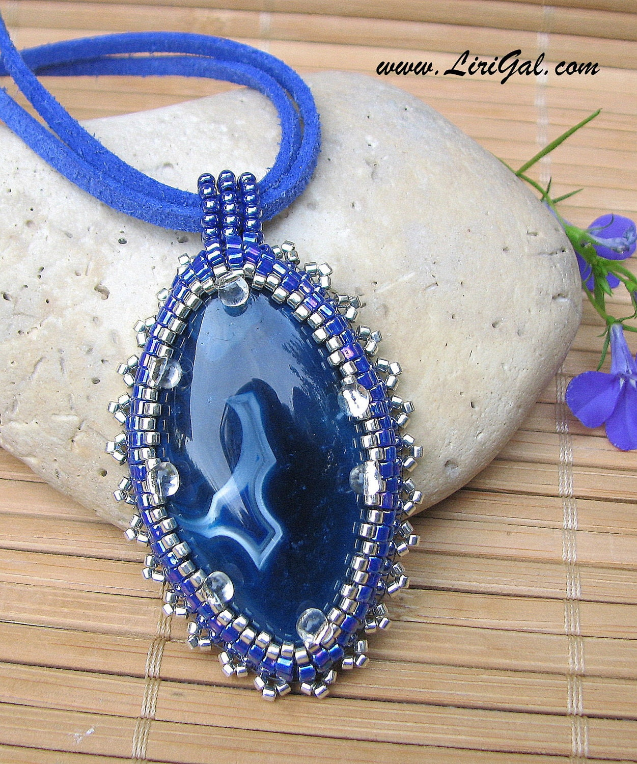 Blue Ice. Beaded pendant