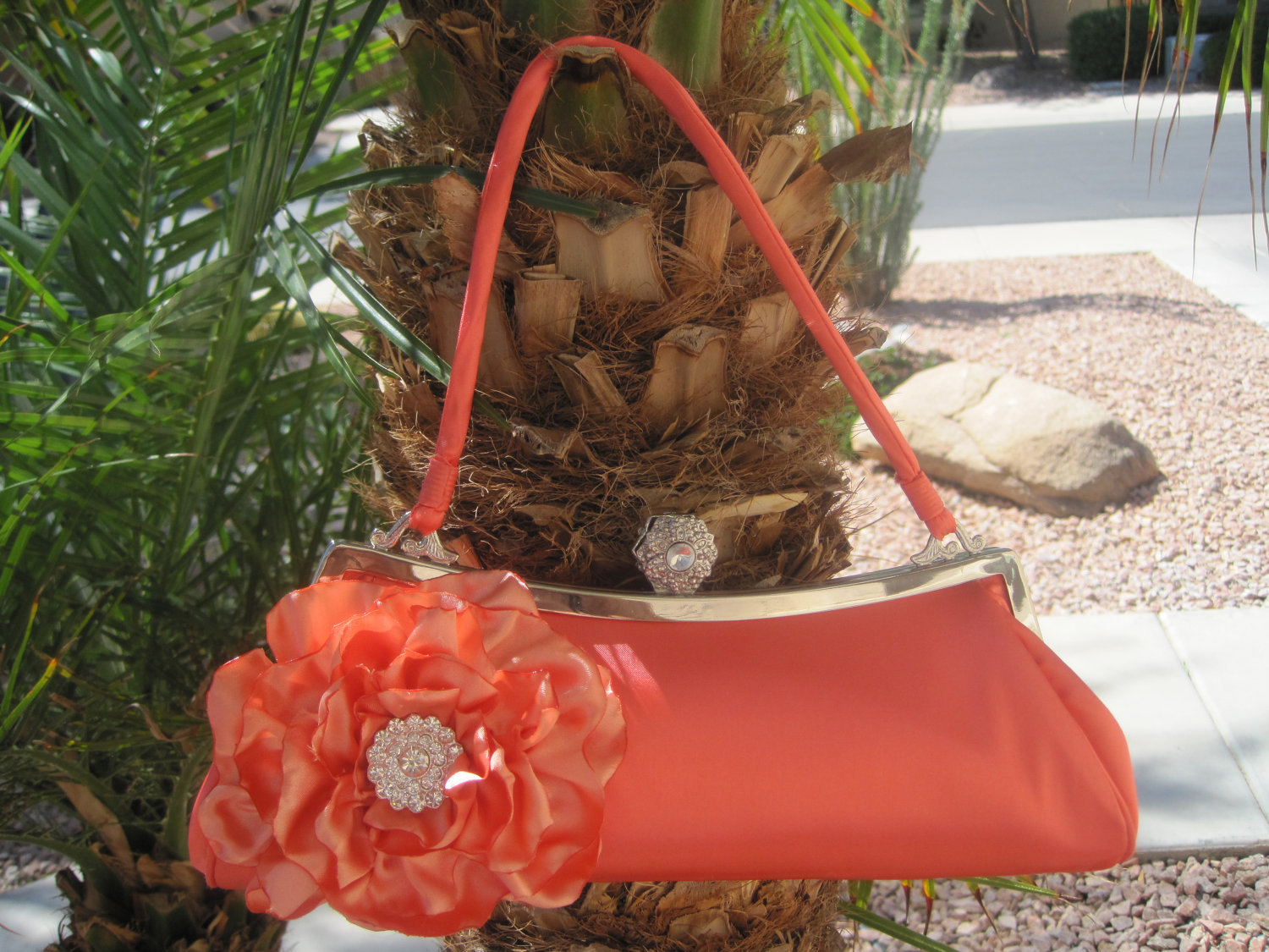 CORAL Satin Evening Purse  with a Beautiful Coral Satin Open Rose and Gorgeous Rhinestone  Accent - theraggedyrose
